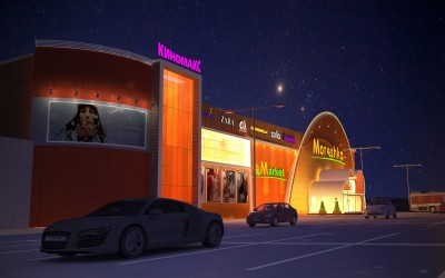 Дизайн ночного освещения фасада торгового центра «Морошка»
