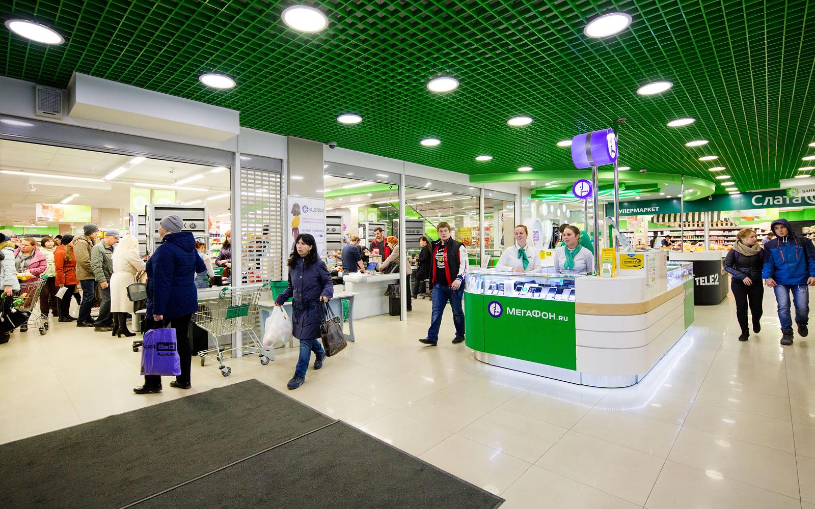Дизайн интерьера торгового центра «Цветной парк», 1 этаж