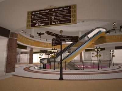 3d визуализация дизайн-проекта навигации торгово-развлекательного центра