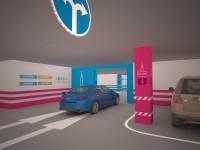 Цветовое кодирование зон подземной парковки связано в единую систему с расположенными наверху 3 бизнес-центрами и 4 круглыми атриумами ТЦ