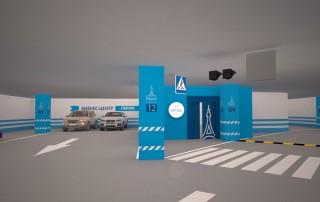 Дизайн навигации на входе с подземной парковки в бизнес-центр «Париж»