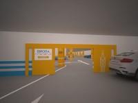 Навигационные указатели на въезде в зону подземной парковки «Лондон»