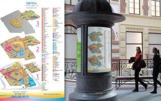Дизайн поэтажной карты-схема ТРЦ «Европа» с рубрикатором арендаторов