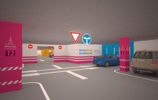 Дизайн навигации в ключевом для движения транспорта узле на подземной автостоянке ТРЦ «Европа»