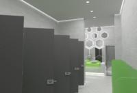 Дизайн туалетной комнаты в торгово-развлекательном центре «Кислород»